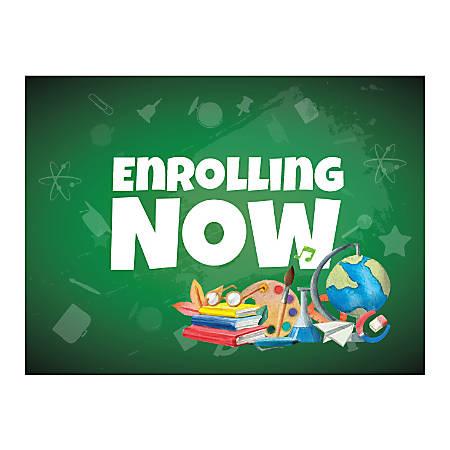 Plastic Sign, Enrolling Now Green, Horizontal