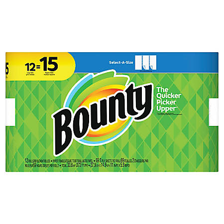 """Bounty Select-A-Size 2-Ply Paper Towels, 11"""" x 5 15/16"""", White, Pack Of 12 Large Rolls"""