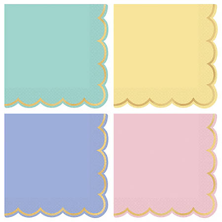 """Amscan Spring 2-Ply Scalloped Beverage Napkins, 5"""" x 5"""", Assorted, 16 Napkins Per Sleeve, Pack Of 4 Sleeves"""