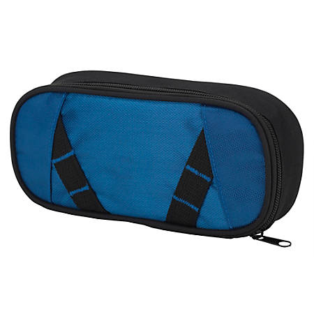"Office Depot® Brand Zig-Zag Pencil Pouch, 4"" x 2"", Blue/Black"