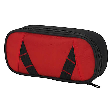 "Office Depot® Brand Zig-Zag Pencil Pouch, 4"" x 2"", Red/Black"