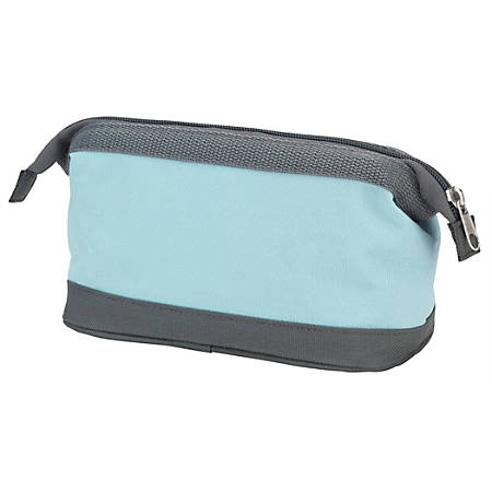 "Office Depot® Brand Large Canvas Pouch, 4-1/2"" x 3-1/2"", Light Blue/Gray"