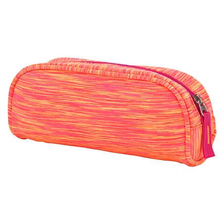 "Office Depot® Brand Space Dye Fabric Pencil Pouch, 4-1/4"" x 2"", Orange"