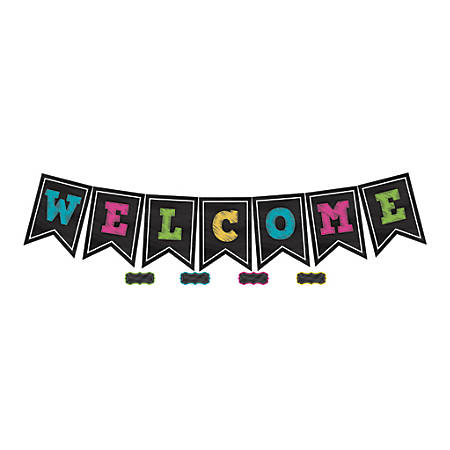 """Teacher Created Resources Chalkboard Brights Welcome Pennants, 9 1/2"""" x 13 1/2"""", Multicolor, Pre-K - Grade 8, Pack Of 48"""