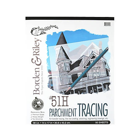 "Borden & Riley No. 51H Parchment Tracing Paper, 14"" x 17"", 16 Lb, Clear, 50 Sheets"