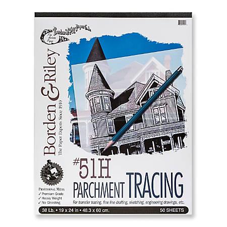 "Borden & Riley No. 51H Parchment Tracing Paper, 19"" x 24"", 16 Lb, Clear, 50 Sheets"