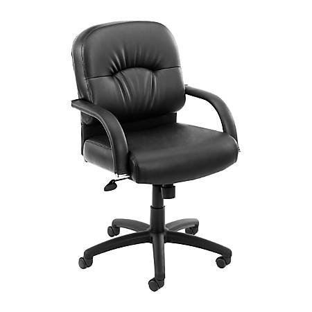 Boss CaressoftPlus Vinyl Mid-Back Chair, Black