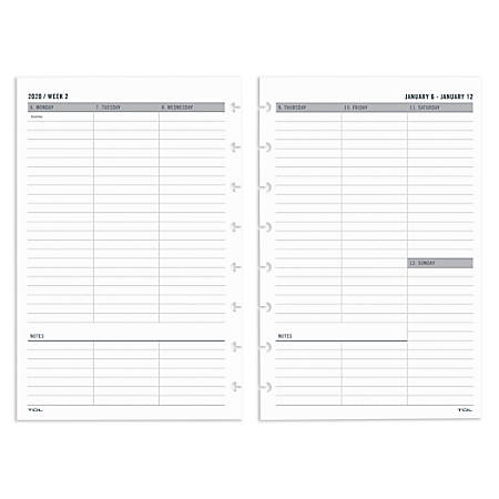 """TUL™ Custom Note-Taking System Discbound Weekly/Monthly Refill Pages, 5-1/2"""" x 8-1/2"""", January to December 2020"""