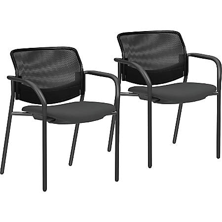 Lorell® Mesh Back Guest Chairs, Black, Set Of 2