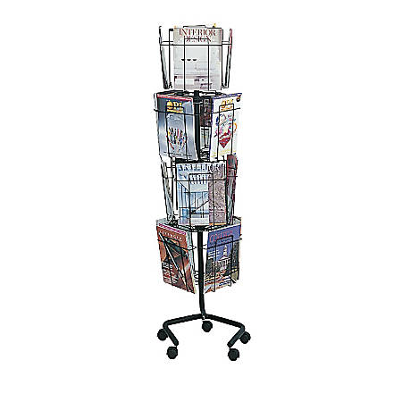 """Safco® Wire Rotary Literature Display, 61 1/4""""H x 15""""W x 15""""D, 16 Pockets, Charcoal"""