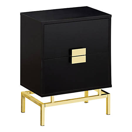 Monarch Specialties Retro 2-Drawer Accent Table, Rectangular, Cappuccino/Gold
