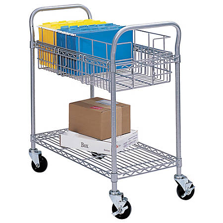 """Safco® Wire Mail Cart, 38 1/2""""H x 26 3/4""""W x 18 3/4""""D, Metallic Gray"""