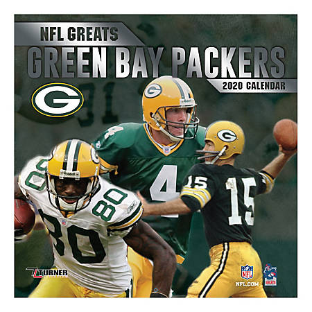 """Turner Licensing Monthly Wall Calendar, 12"""" x 12"""", Green Bay Packers NFL Greats, 2020"""