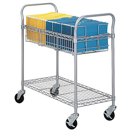 """Safco® Wire Mail Cart, 38 1/2""""H x 21""""W x 42""""D, Metallic Gray"""