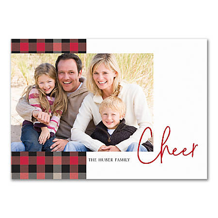 """Custom Photo Holiday Cards With Envelopes, 7"""" x 5"""", Plaid Cheer, Box Of 25 Cards"""