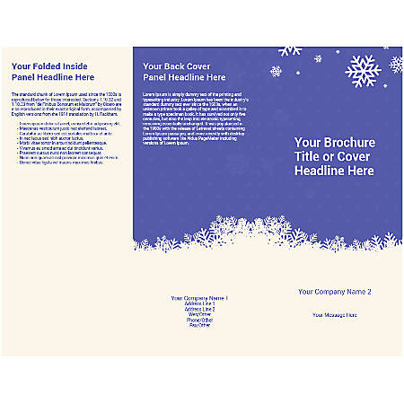 Customizable Trifold Brochure, Blue Winter Snowflake