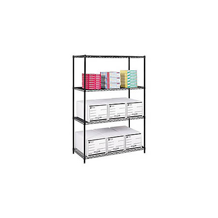 "Safco® Industrial Wire Shelving Starter Unit, 48""W x 24""D, Black"
