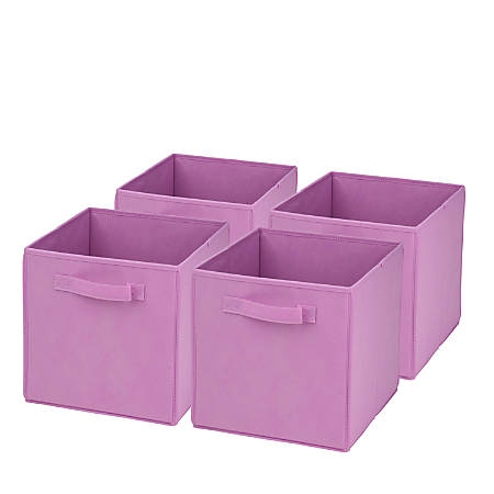 "Honey-Can-Do Non-Woven Foldable Cubes, 11 7/16""H x 10 5/8""W x 10 5/8""D, Pink, Pack Of 4"