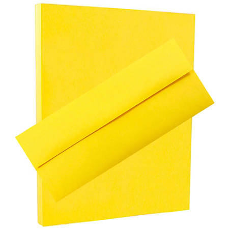 "JAM Paper® Stationery Set, 8 1/2"" x 11"", 30% Recycled, Yellow, Set Of 100 Envelopes And 100 Sheets"
