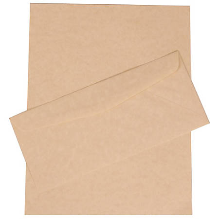"""JAM Paper® Stationery Set, 8 1/2"""" x 11"""", 30% Recycled, Natural, Set Of 100 Envelopes And 100 Sheets"""