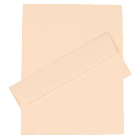 "JAM Paper® Strathmore Stationery Set, 8 1/2"" x 11"", Natural White, Set Of 100 Sheets And 100 Envelopes"