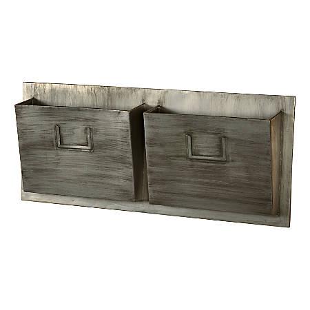 "Linon Gadsden Wrought Iron Horizontal 2-Slot Mailbox, 12""H x 29-1/4""W x 4""D, Gray"