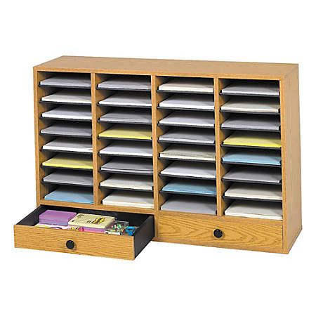 """Safco® Adjustable Wood Literature Organizer, 25 3/8""""H x 39 3/8""""W x 11 3/4""""D, 32 Compartments, 2 Drawers, Oak"""