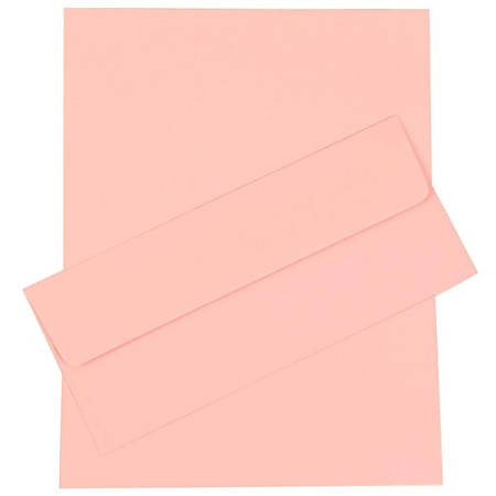 "JAM Paper® Business Stationery Set, 8 1/2"" x 11"", Baby Pink, Set Of 50 Sheets And 50 Envelopes"