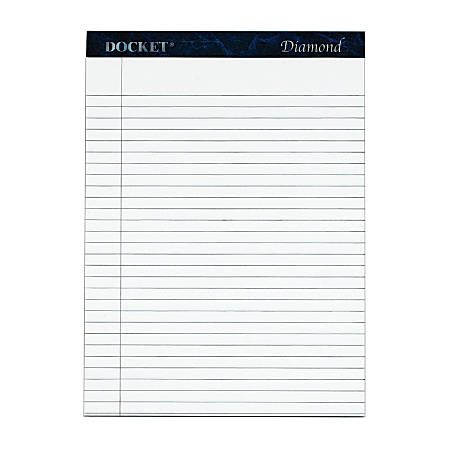 "TOPS™ Docket™ Diamond Premium 100% Recycled Legal Pad, 8 1/2"" x 11 3/4"", Legal Ruled, 50 Sheets, White, Pack Of 2 Pads"