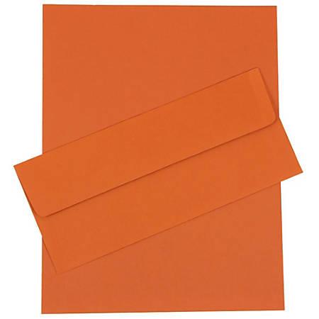 """JAM Paper® Business Stationery Set, 8 1/2"""" x 11"""", Dark Orange, Set Of 50 Sheets And 50 Envelopes"""
