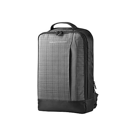 """HP Slim Carrying Case (Backpack) for 15.6"""" Ultrabook - Black, Gray - Twill - 17"""" Height x 29"""" Width x 11.4"""" Depth"""