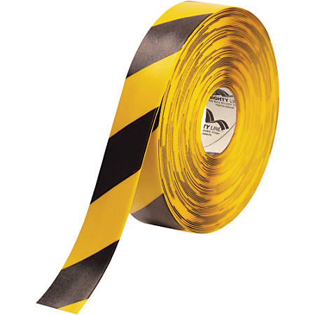 "Mighty Line™ Deluxe Safety Tape, 2"" x 100', Black/Yellow"