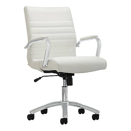 Realspace® Modern Comfort Series, Winsley, Bonded Leather Managerial Mid-Back Chair, White/Silver