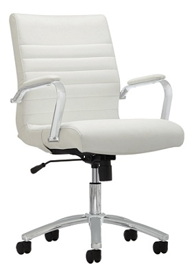 Reale Modern Comfort Winsley Bonded Leather Managerial Mid Back Chair White Silver Item 907932