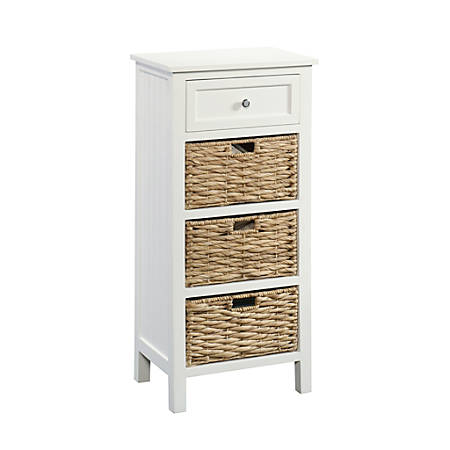 Sauder® Cottage Road Cabinet With Wicker Baskets, 1 Fixed Shelf, 1 Drawer, White