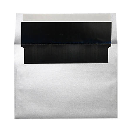"""LUX Invitation Envelopes With Peel & Press Closure, A7, 5 1/4"""" x 7 1/4"""", Silver/Black, Pack Of 1,000"""