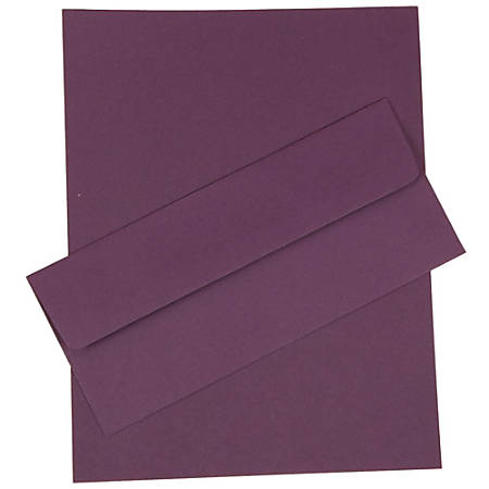"JAM Paper® Business Stationery Set, 8 1/2"" x 11"", Dark Purple, Set Of 50 Sheets And 50 Envelopes"