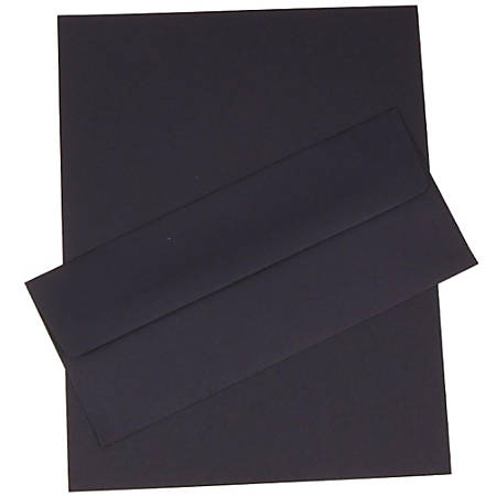 "JAM Paper® Business Stationery Set, 8 1/2"" x 11"", Navy Blue, Set Of 50 Sheets And 50 Envelopes"