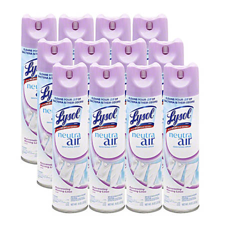 Lysol Linen Scent Air Sanitizer - Spray - 10 fl oz (0.3 quart) - Morning Linen Scent - 12 / Carton
