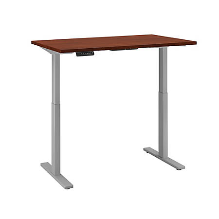 "Bush Business Furniture Move 60 Series 48""W x 30""D Height Adjustable Standing Desk, Hansen Cherry/Cool Gray Metallic, Premium Installation"