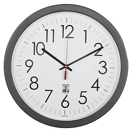 "SKILCRAFT® Self-Set Wall Clock, 14 1/2""W, Black/White (AbilityOne 6645-01-623-8823)"