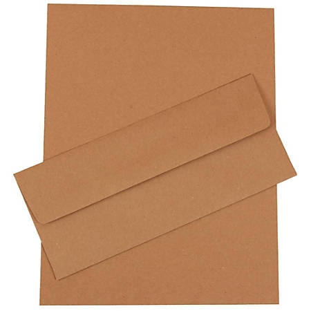 "JAM Paper® Business Stationery Set, 8 1/2"" x 11"", 100% Recycled, Brown Kraft, Set Of 50 Sheets And 50 Envelopes"