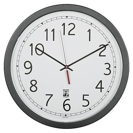 "SKILCRAFT® Self-Set Wall Clock, 16 1/2""W, Black/White (AbilityOne 6645-01-623-8825)"