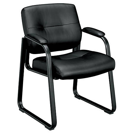 "basyx by HON® SofThread™ Leather Guest Chair, 33 1/2""H x 24 3/4""W x 26""D, Black Frame, Black Leather"