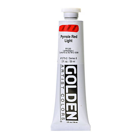Golden Heavy Body Acrylic Paint, 2 Oz, Pyrrole Red Light