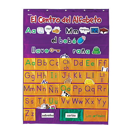 "Learning Resources Spanish Alphabet Pocket Chart (El Centro Del Alfabeto), 37 3/4"" x 28 1/4"", Purple/Orange, Kindergarten - Grade 4"