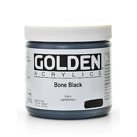 Golden Heavy Body Acrylic Paint, 16 Oz, Bone Black
