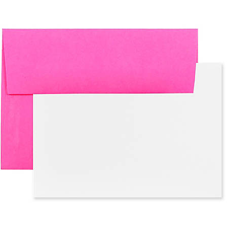 "JAM Paper® Stationery Set, 5 1/4"" x 7 1/4"", Set Of 25 White Cards And 25 Ultra Fuchsia Envelopes"