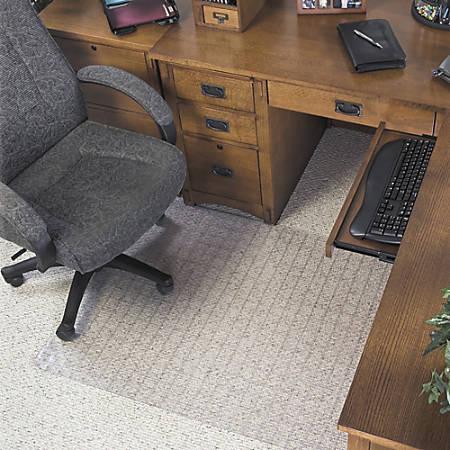 "Deflect-O DuraMat Checkered Chair Mat For Low-Pile Carpet, 60"" x 46"", Clear"
