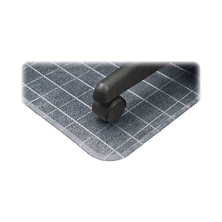 "Deflect-O SuperMat Checkered Chair Mat For Carpet, 53"" x 45"", Clear"